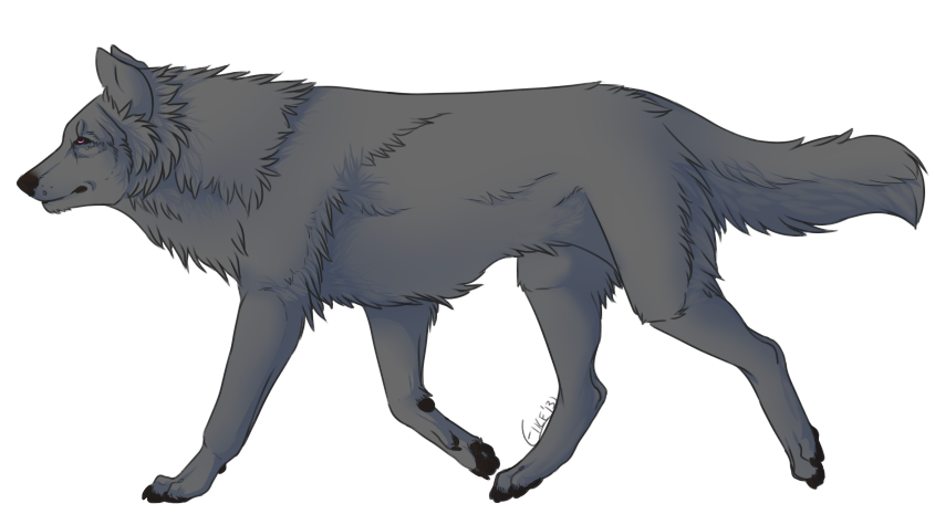 This image has an empty alt attribute; its file name is free_wolf_lineart_v2_by_eikette-d5v31vc.png
